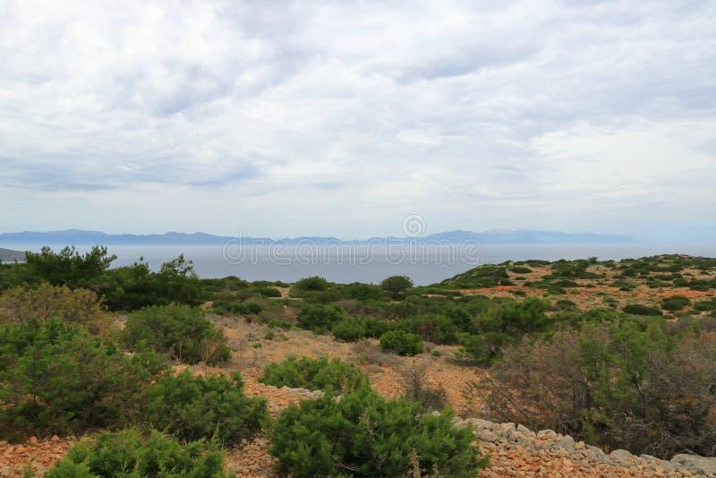 De beelden van een mooi eiland riepen gavdos, het zuidelijkste eiland in Europa stock afbeelding
