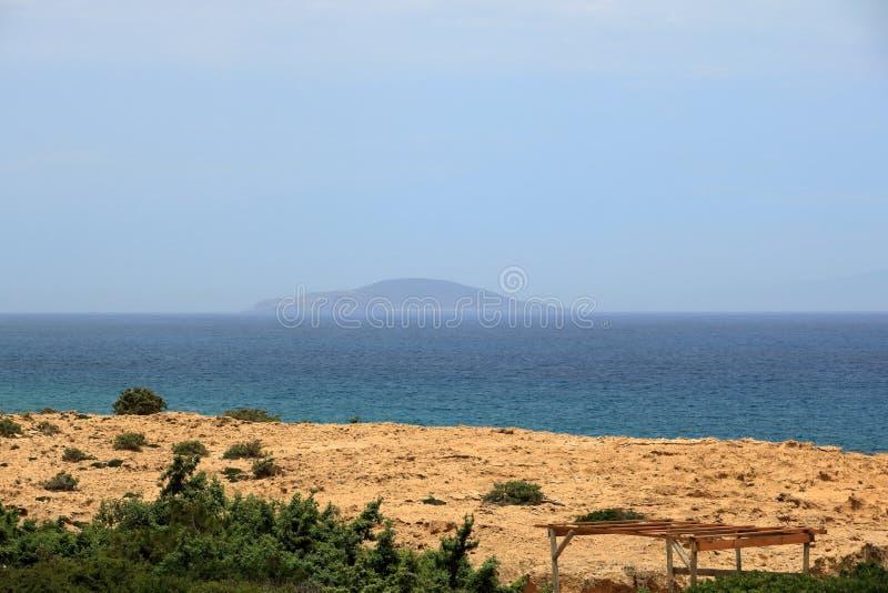 De beelden van een mooi eiland riepen gavdos, het zuidelijkste eiland in Europa royalty-vrije stock afbeelding