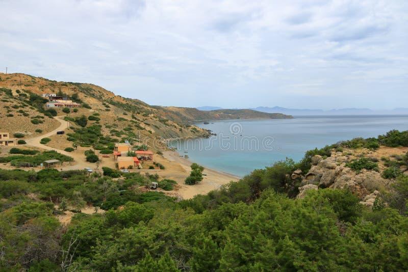 De beelden van een mooi eiland riepen gavdos, het zuidelijkste eiland in Europa stock fotografie