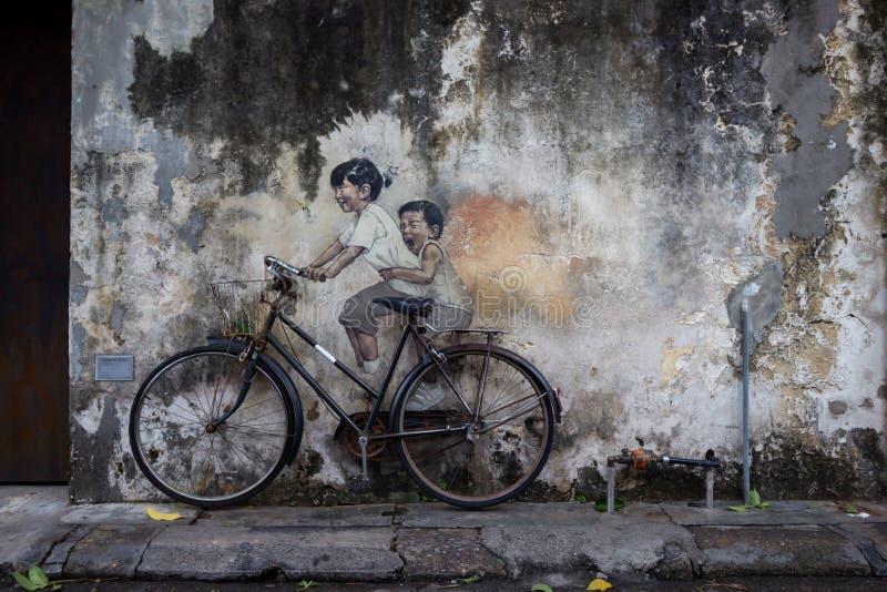 De beelden van Georgetown Maleisië op een muur penang stock foto's
