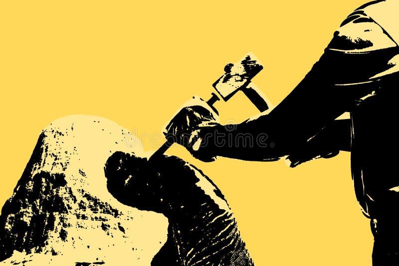De beeldhouwwerkmens aan het werk met hamer en de beschermende handschoenen aan het snijden van een steen blokkeren - conceptenbe stock afbeelding