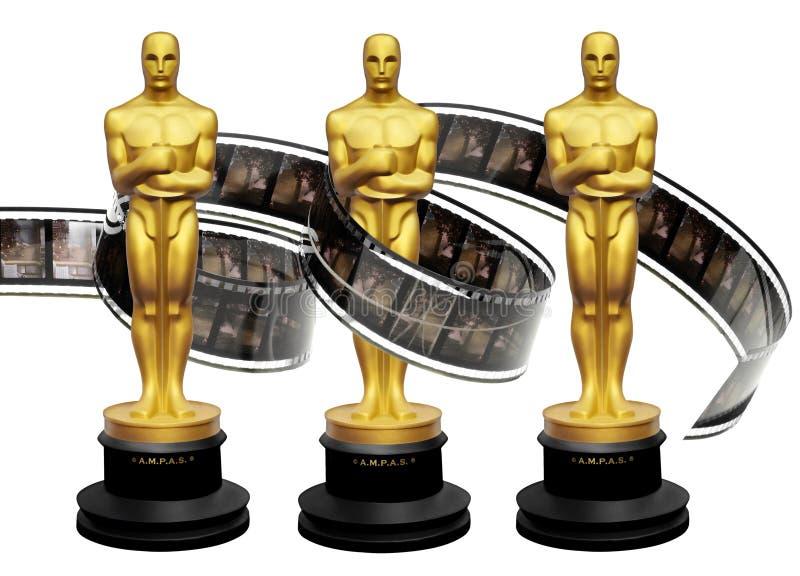 De beeldjes van de Oscarstoekenning met filmfilm royalty-vrije illustratie