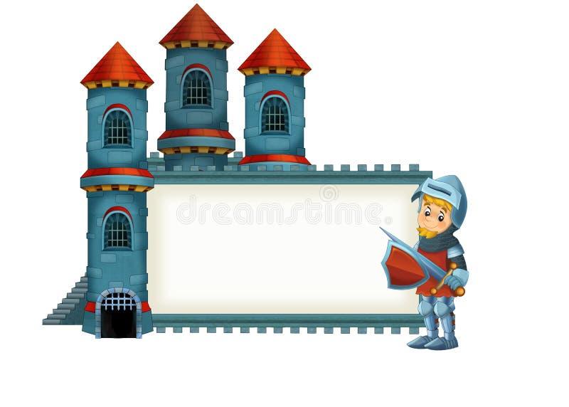 De beeldverhaal middeleeuwse illustratie voor de kinderen - titelpagina - misc gebruik stock illustratie