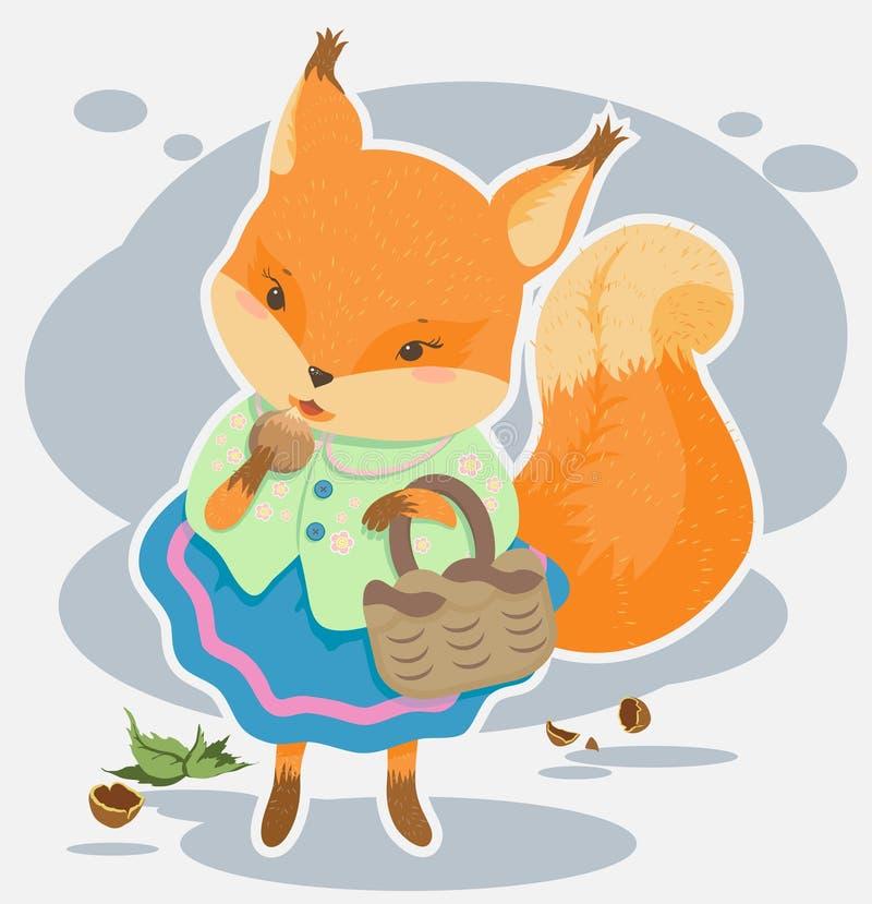 De beeldverhaaleekhoorn knaagt aan noten stock illustratie
