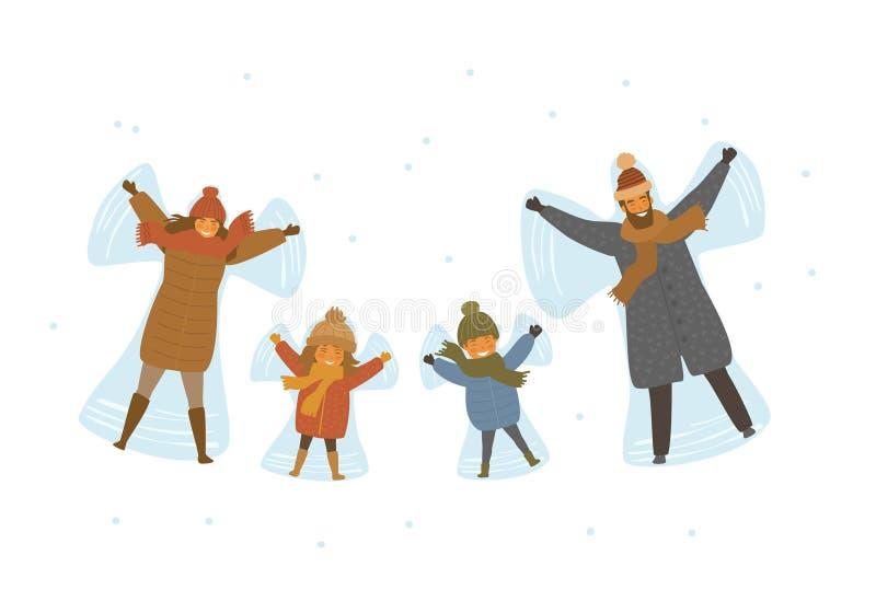 De de de beeldverhaalfamilie, ouders en kinderen die sneeuwengel in sneeuw maken isoleerden vectorillustratiescène royalty-vrije illustratie