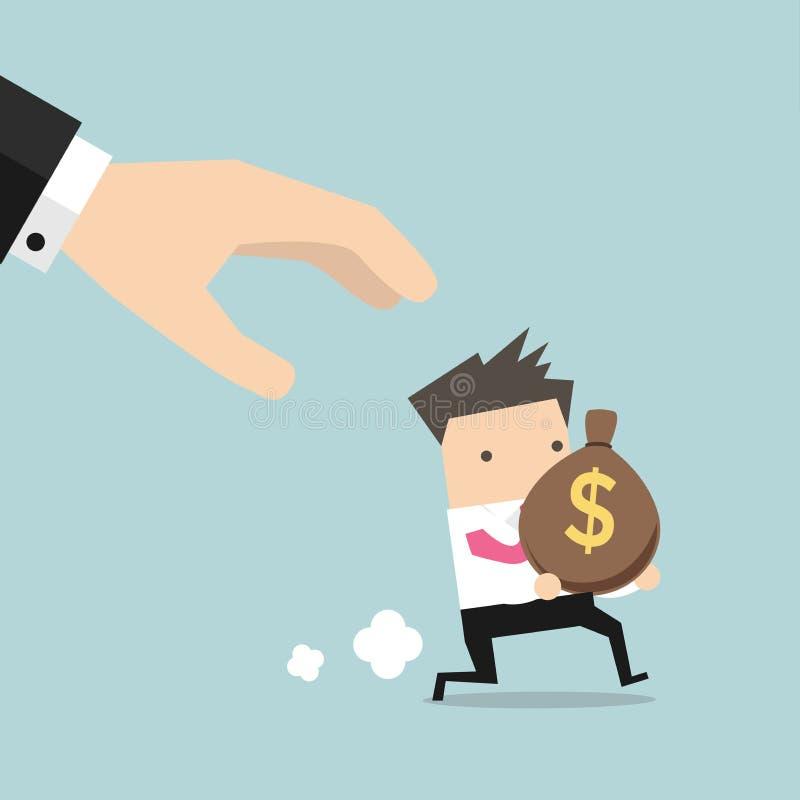 De beeldverhaalhand probeert om de zak van geld lopende zakenman te grijpen vector illustratie