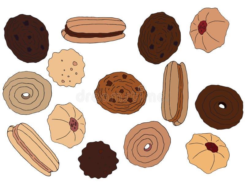 De beeldverhaalhand trekt het gekleurde smakelijke dieet van de de chocoladekoffie van de koekjeskunst vastgestelde royalty-vrije illustratie