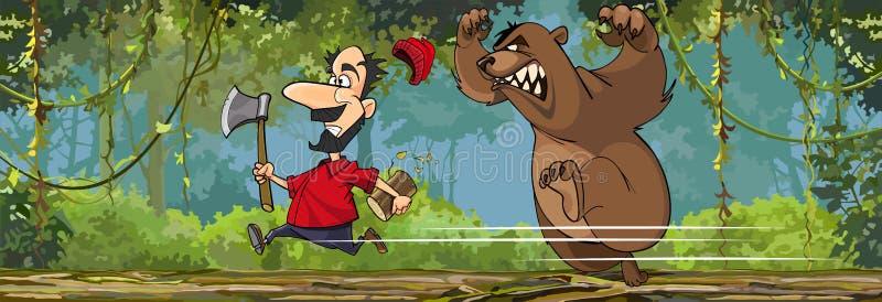 De beeldverhaalhouthakker met een bijl loopt vanaf een boze beer stock illustratie