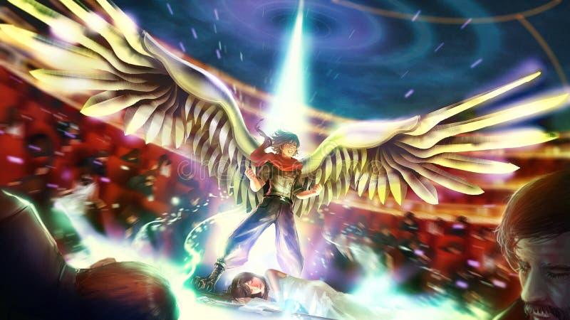 De beeldverhaalillustratie van een groot birdman of wingman strijdersheld barst zijn uiteindelijke bevoegdheid om zijn prinsesmei royalty-vrije illustratie