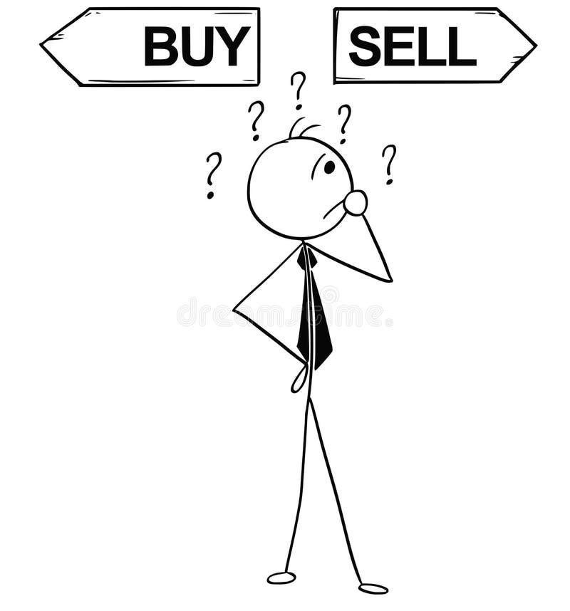 De beeldverhaalillustratie van het Bedrijfsmens Doen koopt of verkoopt Besluit royalty-vrije illustratie
