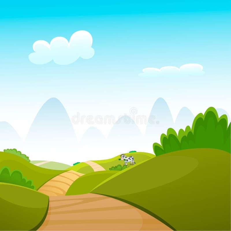 De beeldverhaalillustratie van het de zomerlandschap stock illustratie