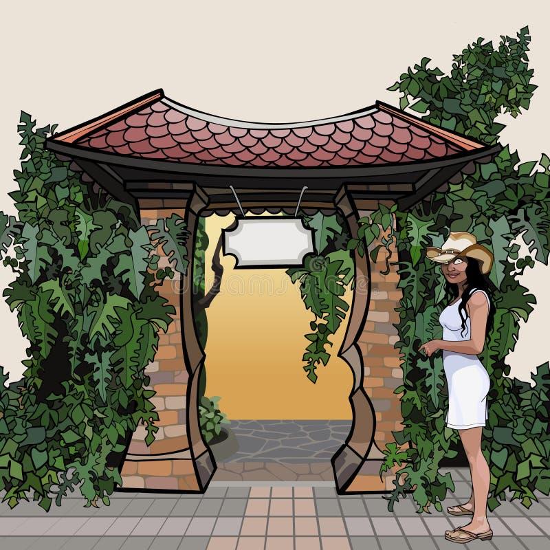 De beeldverhaalingang met een dak met een overwoekerd uithangbord plant stock illustratie
