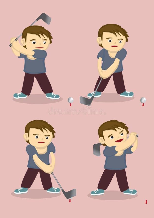 De beeldverhaaljongen speelt Golf Vectorillustratie vector illustratie