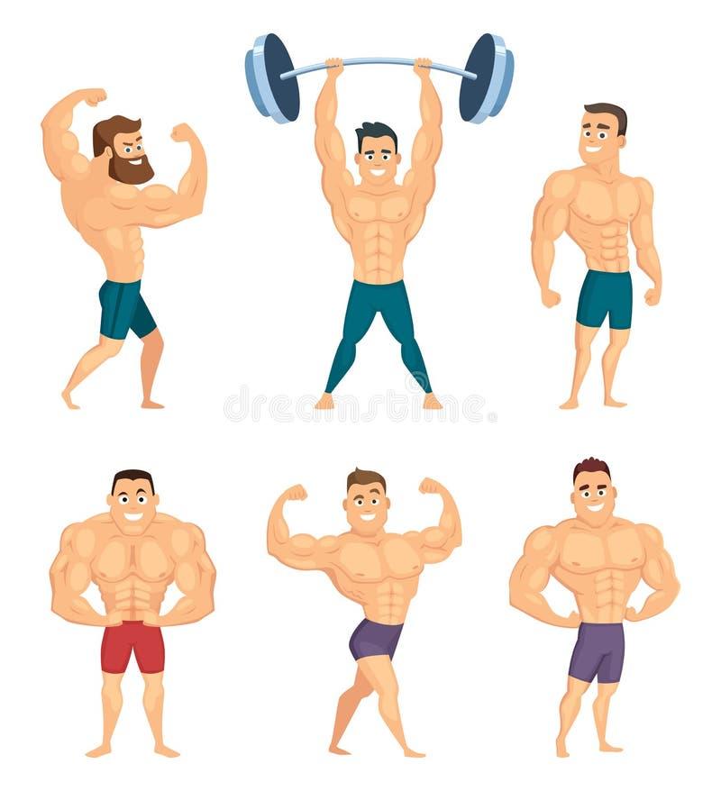 De beeldverhaalkarakters van sterke en spierbodybuilders die in verschillend stellen stelt stock illustratie