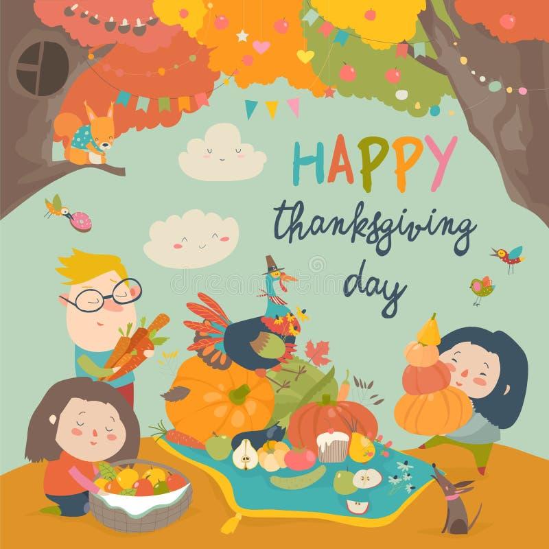 De beeldverhaalkinderen die in de herfst oogsten tuinieren Gelukkig Thanksgiving day vector illustratie