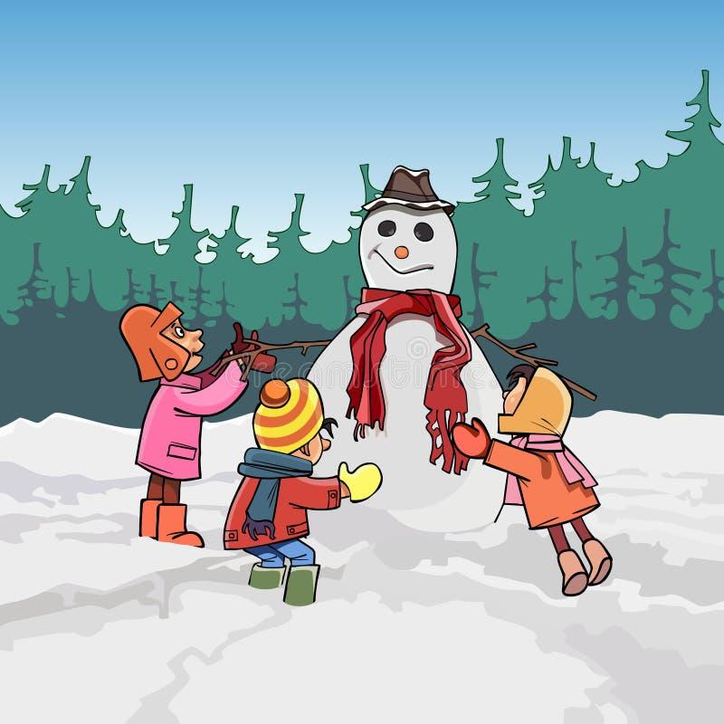 De beeldverhaalkinderen vormen de sneeuwman in de winter stock fotografie