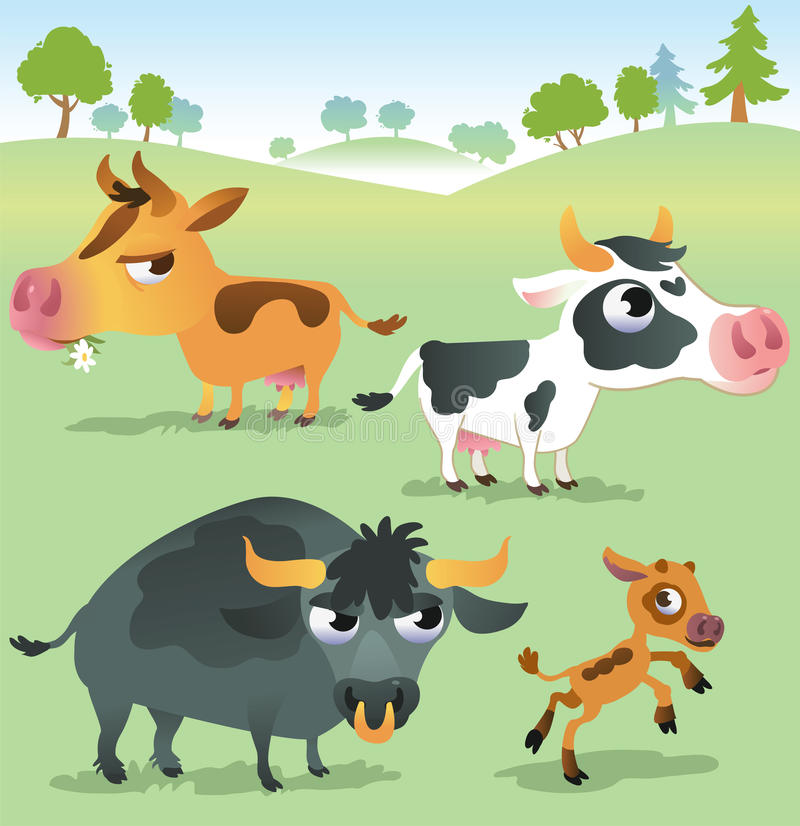 De beeldverhaalkoe plaatste: koeien, stier en kalfsstier royalty-vrije illustratie