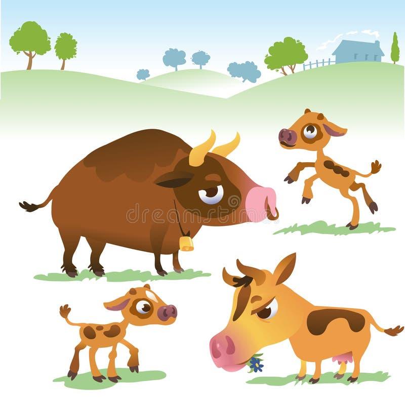 De beeldverhaalkoe plaatste: koeien, stier en kalfsstier vector illustratie