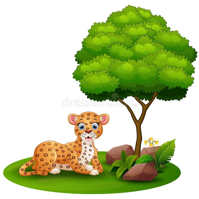 De beeldverhaalluipaard bepaalt onder een boom op een witte achtergrond royalty-vrije illustratie