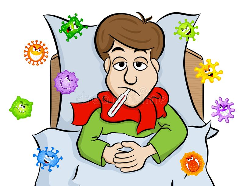 De beeldverhaalmens die in bed met koorts liggen wordt en omringd door virussen vector illustratie