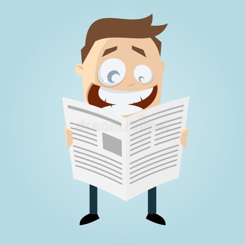 De beeldverhaalmens leest een krant stock illustratie