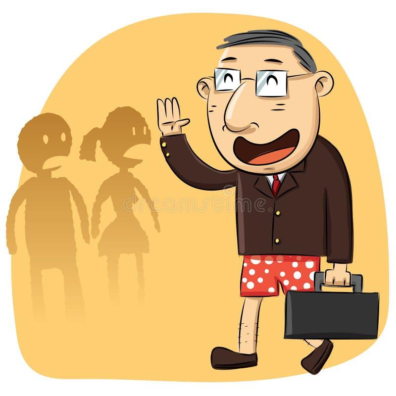 De beeldverhaalmens vergat om broek te dragen stock illustratie