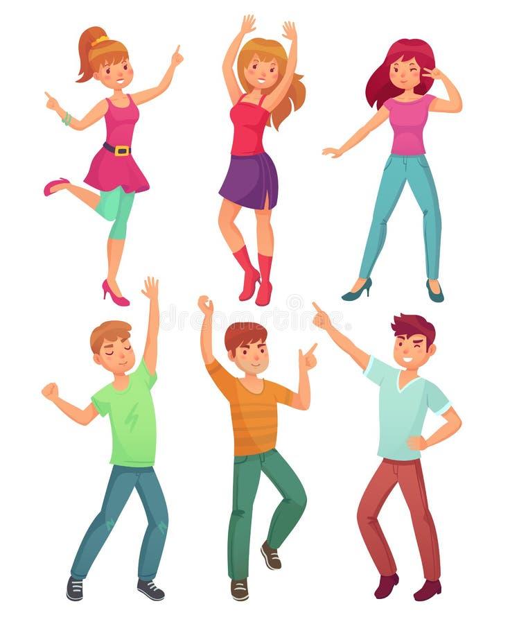 De beeldverhaalmensen dansen Volwassen personen die en bij discopartij glimlachen dansen De grappige partying reeks van de persoo royalty-vrije illustratie