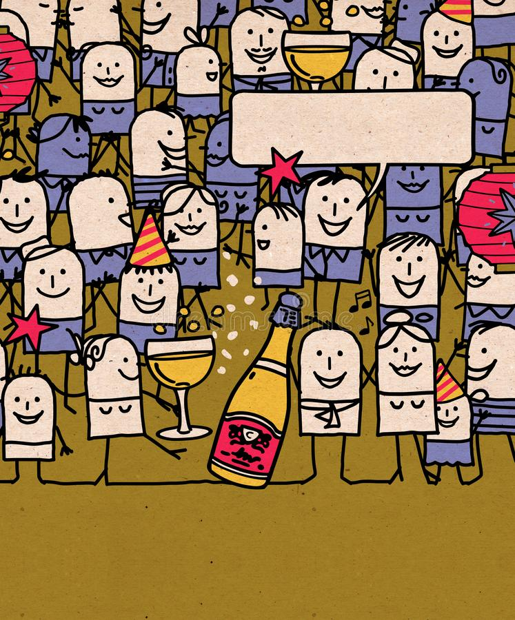 De beeldverhaalmensen overbevolken en Gelukkige Nieuwjaartijd vector illustratie