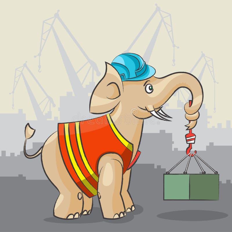 De olifant is een kraan royalty-vrije illustratie