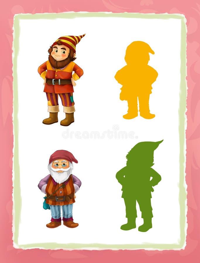 De beeldverhaalpagina met middeleeuwse verschillende karakters verkleint spel met vormen stock illustratie