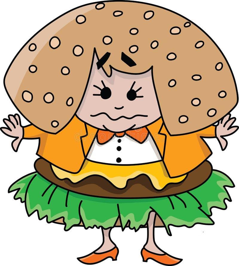 De beeldverhaalvrouw die veel snel voedsel eet wordt een hamburgervector vector illustratie