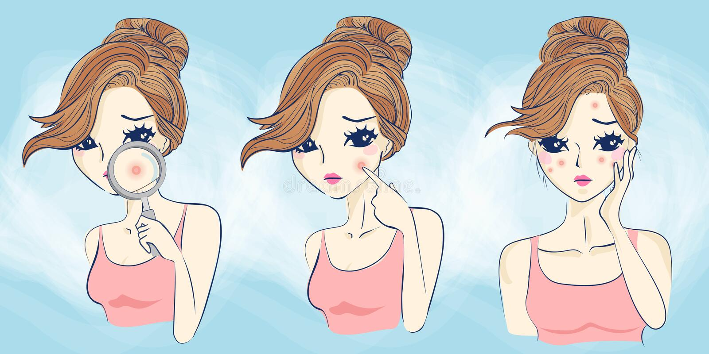 De beeldverhaalvrouw heeft gezichtsprobleem vector illustratie