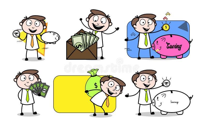 De beeldverhaalzakenman Finance Money & de Besparing stellen royalty-vrije illustratie