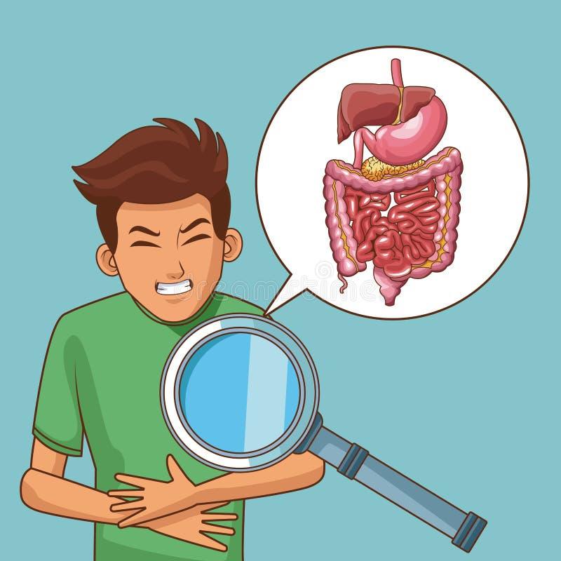 De beeldverhalen van de maagpijn vector illustratie