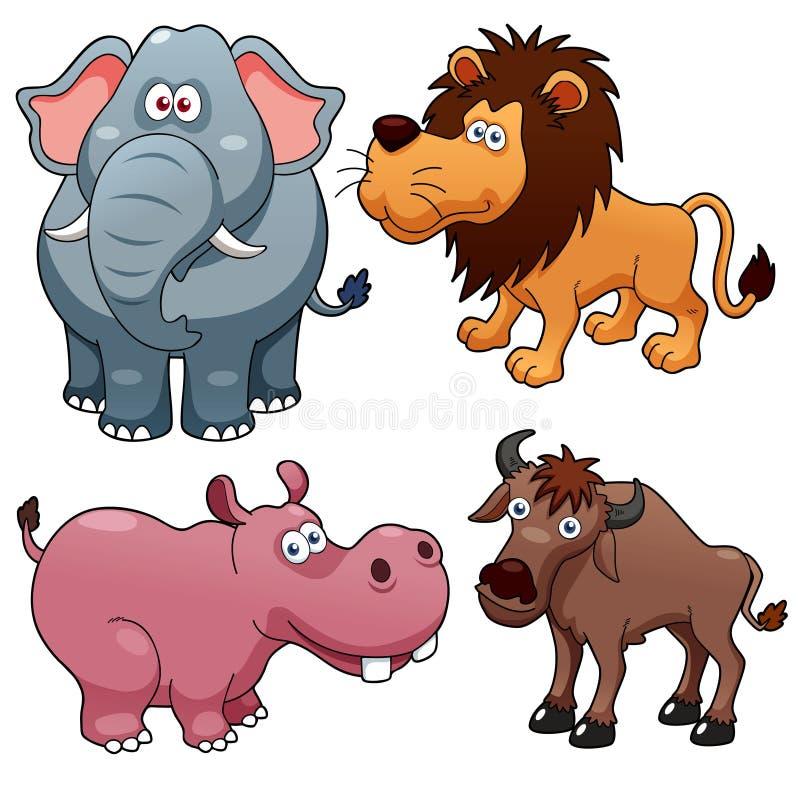 De beeldverhalen van wilde dieren stock illustratie