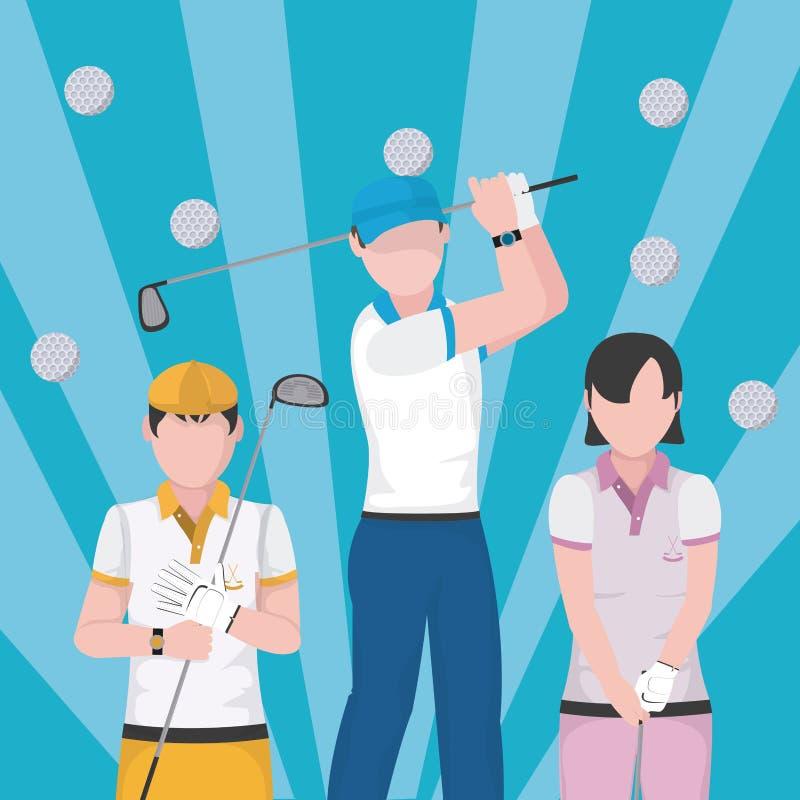 De beeldverhalenconcept van golfspelers stock illustratie