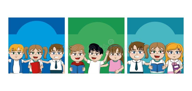 De beeldverhalenkaarten van jonge geitjesstudenten vector illustratie