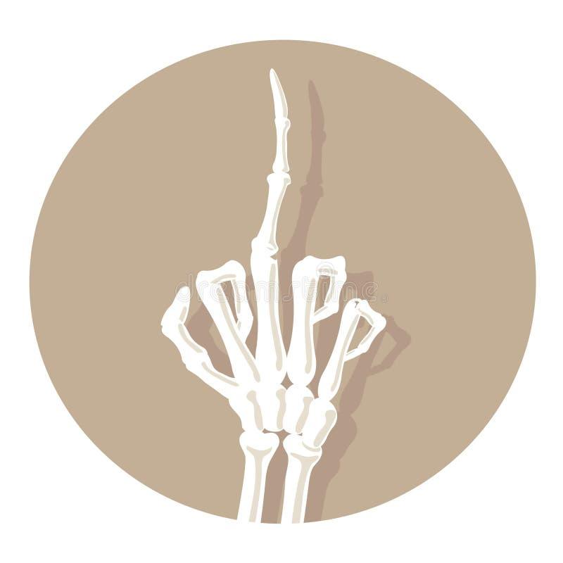 De beenderenhanden tonen duimen Obsceen gebaar Medische illustratie stock illustratie