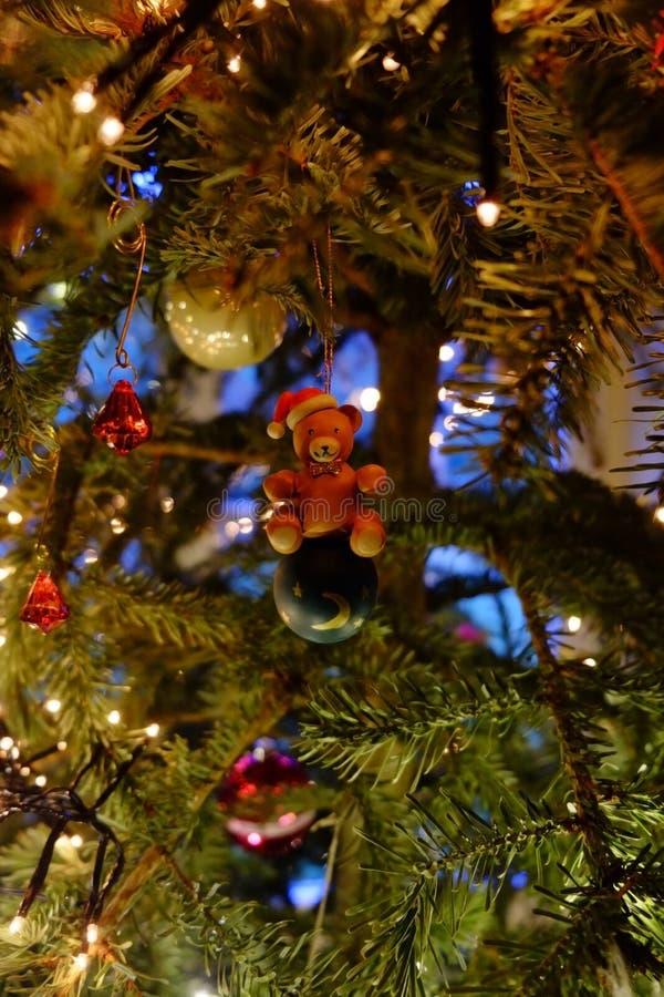 De beer in de (Kerstmis) boom stock afbeelding