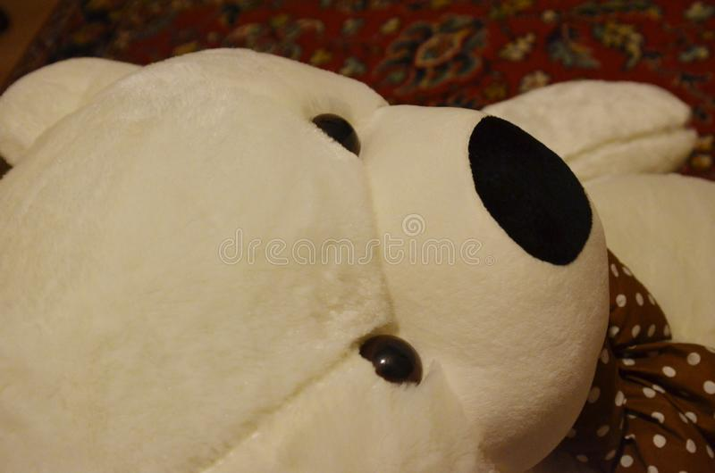 De beerstuk speelgoed grote witte kleur van met zwarte ogen stock afbeelding
