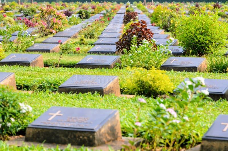 De Begraafplaats van de Kanchanaburioorlog (Don Rak) stock afbeeldingen