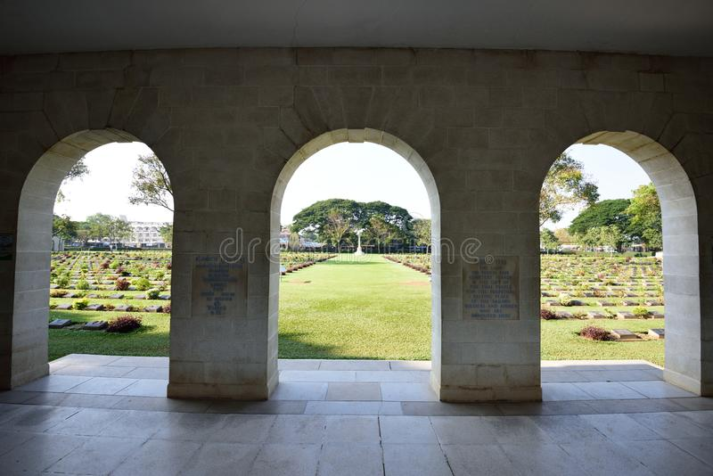 De Begraafplaats van de Kanchanaburioorlog, Thailand royalty-vrije stock fotografie
