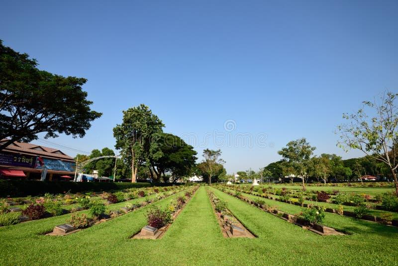De Begraafplaats van de Kanchanaburioorlog, Thailand stock foto's