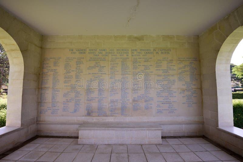 De Begraafplaats van de Kanchanaburioorlog, Thailand royalty-vrije stock afbeelding