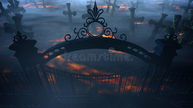 De begraafplaats van de verschrikkingsnacht, graf Maanlicht Het concept van Halloween het 3d teruggeven stock illustratie