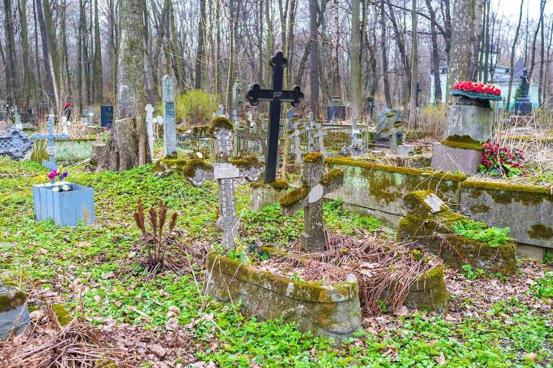 De begraafplaats van Smolensk in Heilige Petersburg, Rusland stock foto's