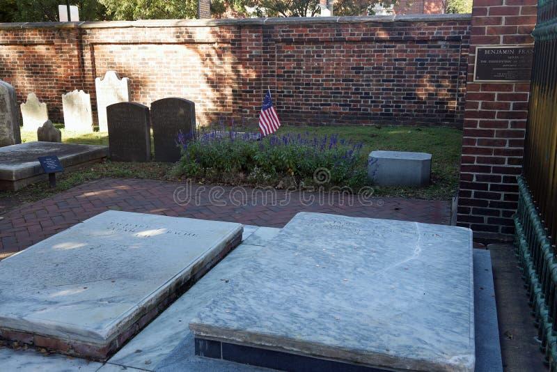 De Begrafenisplaats van Ben Franlin ` s in Philadelphia stock afbeeldingen