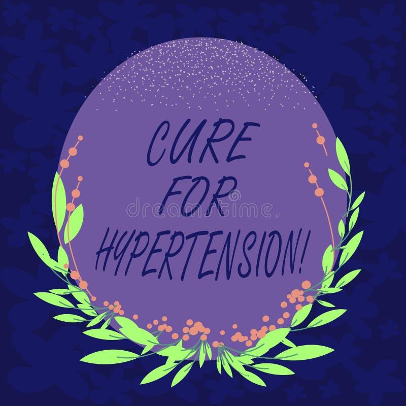 De Behandeling van de handschrifttekst voor Hypertensie Concept die Ertoe brengend behandeling om de Ovale Vorm van de bloeddruk  royalty-vrije illustratie