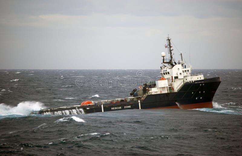 De behandeling van het anker van Semi submergible in Noordzee stock foto
