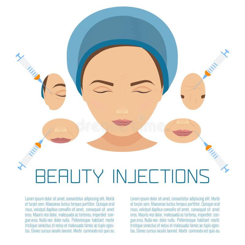 De behandeling van schoonheidsinjecties royalty-vrije illustratie